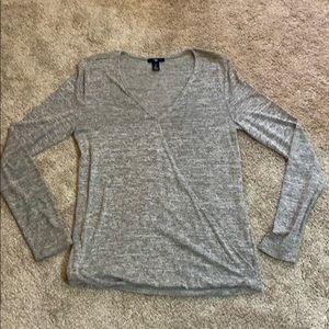 GAP grey faux wrap longsleeve top